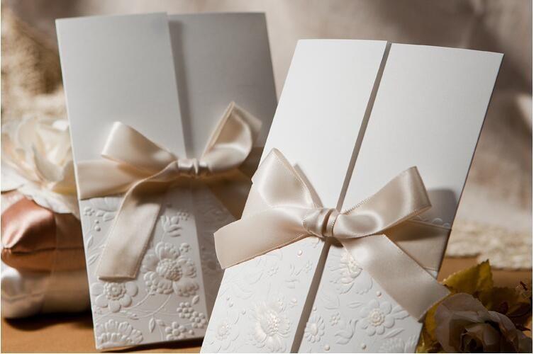 Cheap 2017 Laser Cut Luxury White Wedding Invitations Ribbon Bow – Luxury Party Invitations