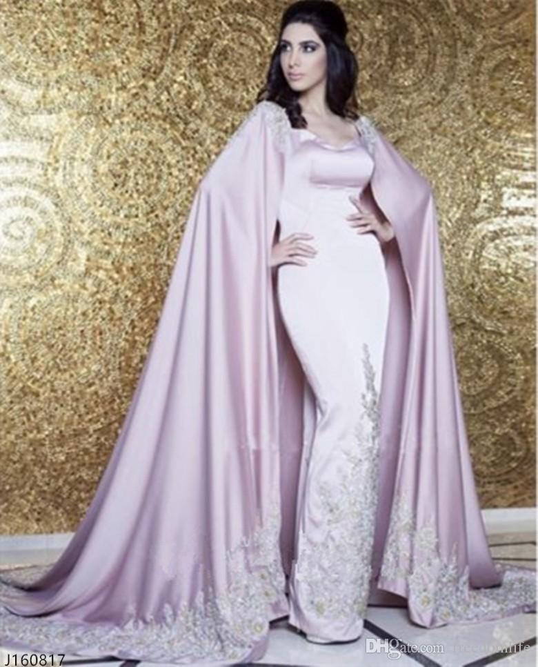 Luxury Dubai Arabic Evening Dresses With Cape Appliques Sparkle Crystal Sequins Celebrity Gowns 2017 New Arrival Special Occasion Party Wear