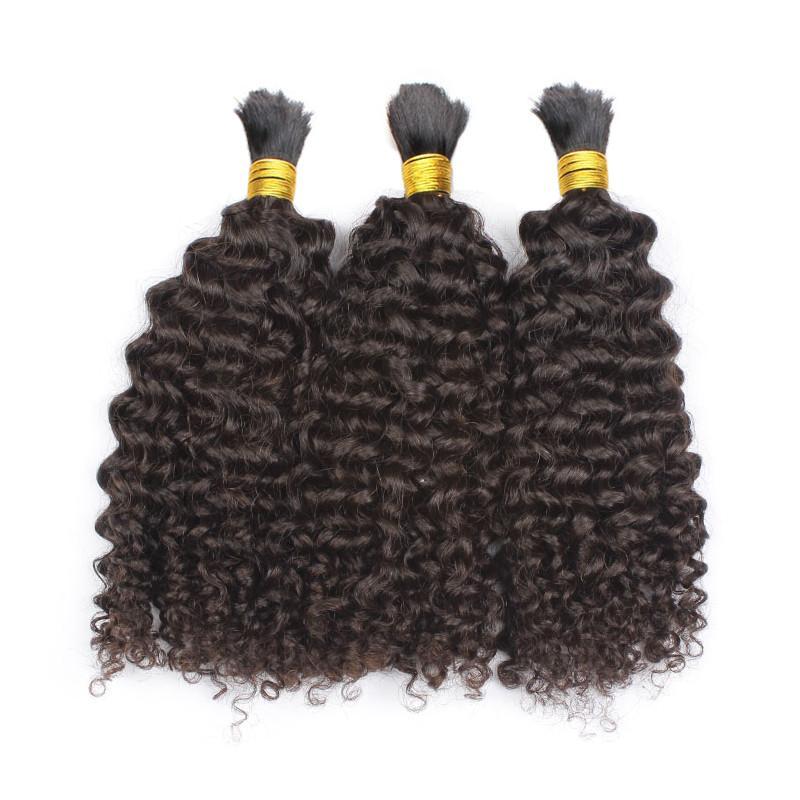 100% dei capelli umani intrecciando la rinfusa curla riccia senza trama capelli mongoli bulk naturale nero 3 pz lotto