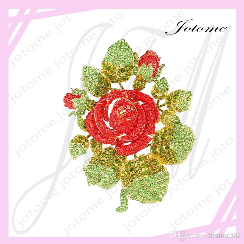 100PCS/Lot Gold-Tone Valentines' Gifts Austrian Crystal Romantic Rose Flower Leaf Brooch for lover, girlfriend, mother
