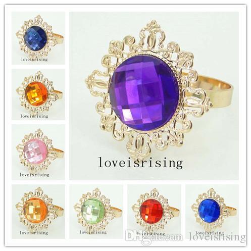 뜨거운 판매--100PCS/Lot Fashio 아름다운 아크릴 보석 냅킨 링 결혼식 테이블 장식 냅킨 링 냅킨 천 반지-22 색상