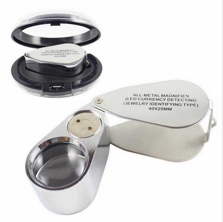 40X 25mm Metal Jeweler LED Magnifier per microscopio Magnifier per luce di ingrandimento