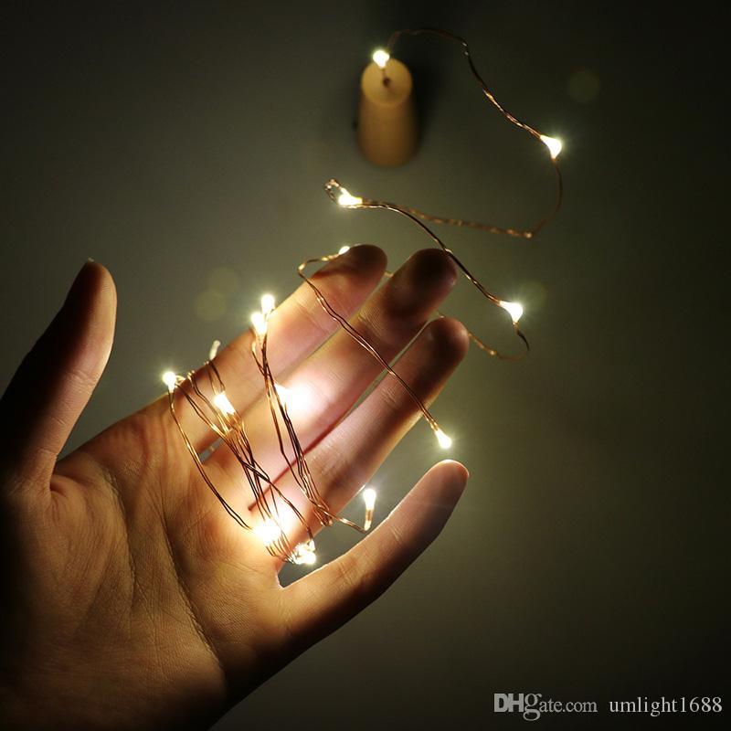 Umlight1688 LED String Weinflasche Cork Lichterketten Flaschenverschluss 1M 2M Silber Kupferdraht Lichterketten Batteriebetriebene Weihnachtshochzeitsdekoration