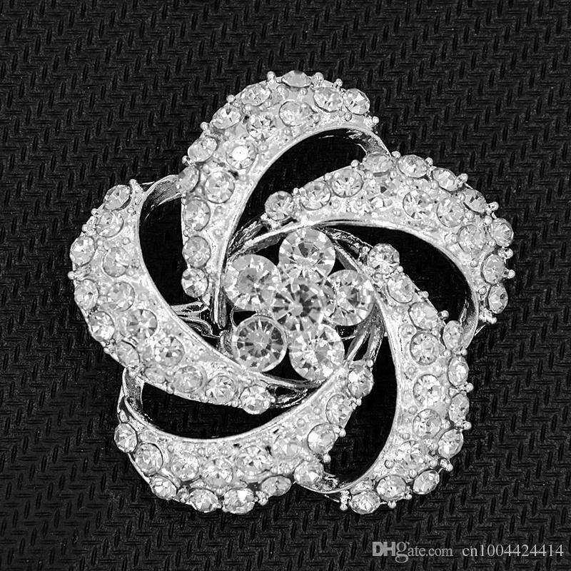 Silber Überzogene Legierung Klar Kristall Blume Frauen Brosche Klassische Mode-stil Hochzeit Bouquet Brosche Elegante Dame Party Pins