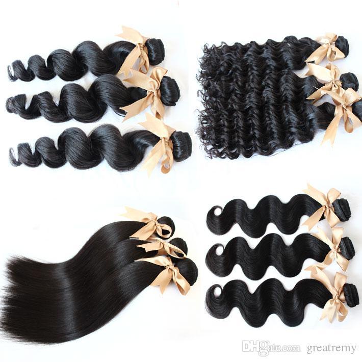 100% brasilianska mänskliga hårväftväven rakt vågigt lockigt naturligt svart blekt hårförlängning 3st / lot greatremy