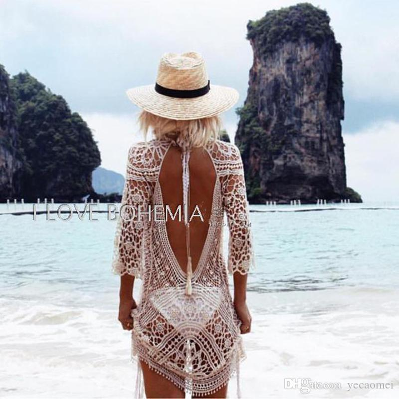 2017 Europen New Sexy Summer Style Bohemian Lace Backless Cardigan Beach Vacation Long Sleeves Sunscreen Lace Dress Hollow Out Party Dress