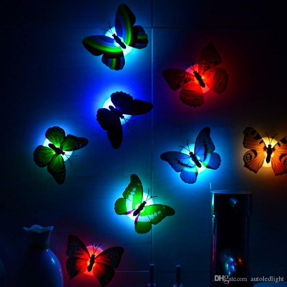 Romantic Magic Colorful Butterfly Decorative Light/Adhesive LED Colorful Butterfly Night Light,Ideal for children Bedroom