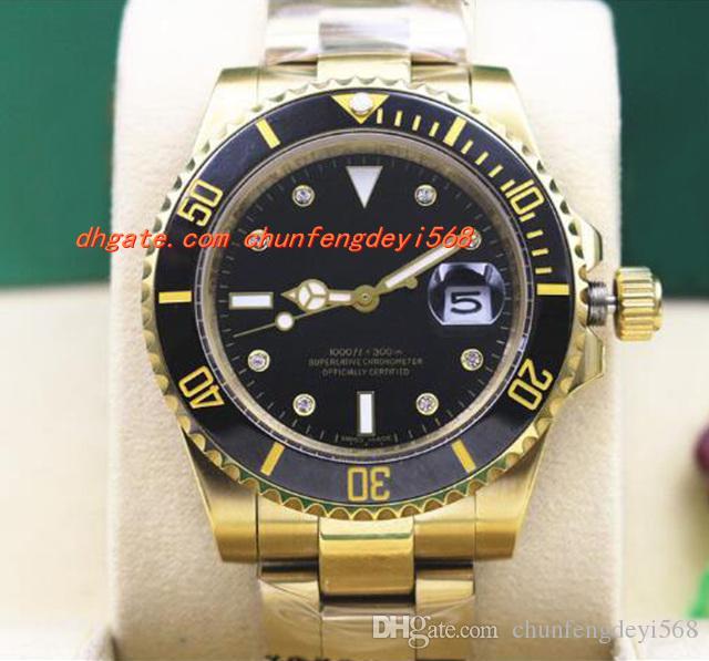 高級腕時計18Kゴールドブラックセラミックベゼルスチールブレスレットダイヤモンド腕時計メンズ40mm自動メカニック男性腕時計最高品質の新着到着