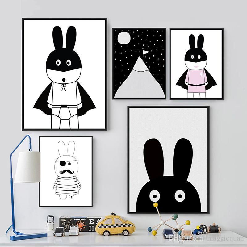 Black and White Posters and Prints Cartoon Nordic Poster Animals Bunny Rabbit for Kids Rooms Canvas Wall Picture Art Painting Gifts Unframed