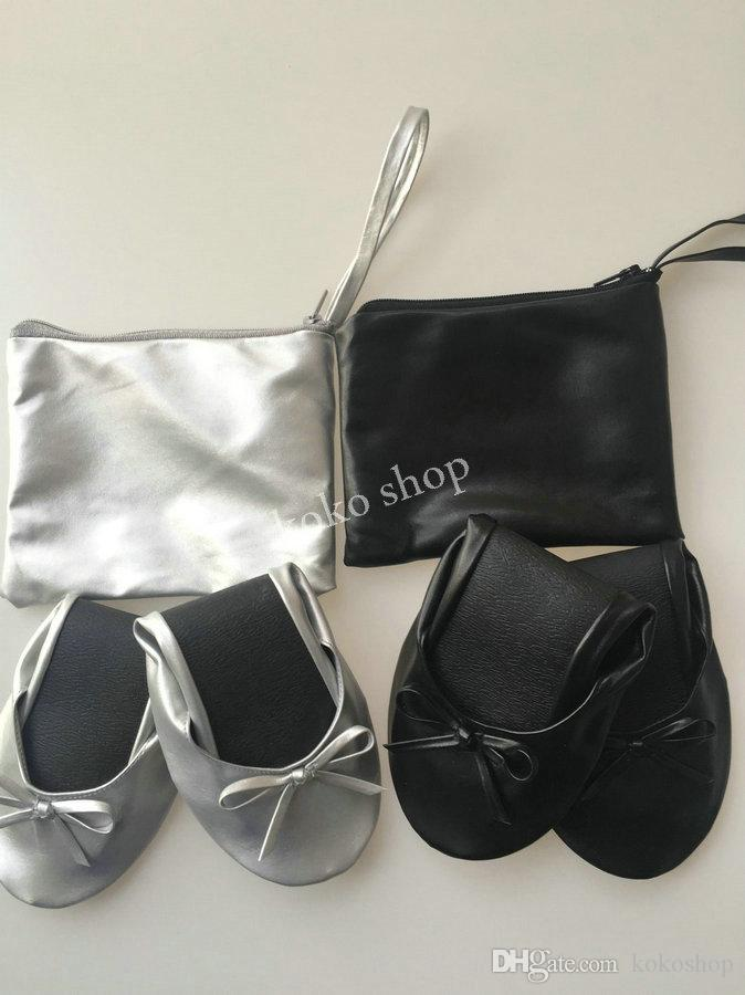 2020 Top quality soft lady foldable ballerinas fold up ballet flat for wedding gift ,after party dance free shipping