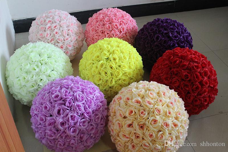 Free shipping 15 Inch Wedding silk Pomander Kissing Ball flower ball decorate flower artificial flower for wedding garden market decoration