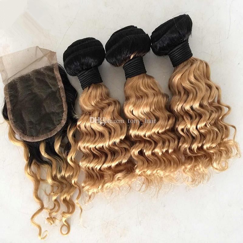 Ombre 1B/27 Honey Blonde Deep Wave Virgin Hair 3 Bundles With Lace Closure Dark Roots Honey Blonde Peruvian Deep Curly Human Hair