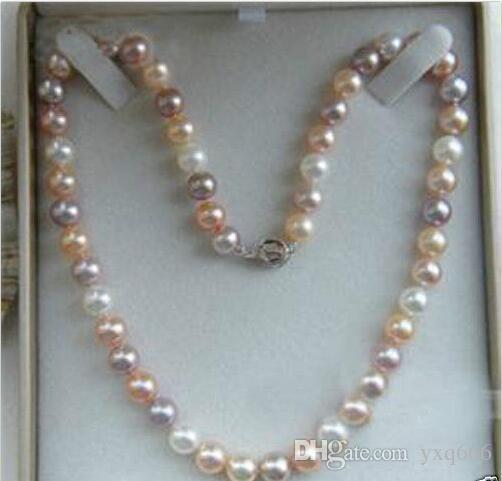 """9-10mm Oryginalny Naturalny Biały Różowy Purpurowy Akoya Kultura Pearl Naszyjnik 18 """""""