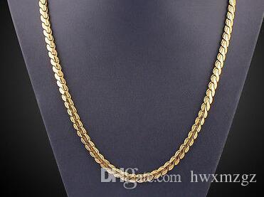 Благородного 18k желтого золота гальваническим Змей ожерелье цепи Hip-Hop Punk Стиль Мужчина ювелирные изделия