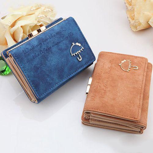 Mode Frauen Geldbörse Damen Matte Brieftaschen Short Kunstleder New Small Umbrella Wallet Button Clutch Bag