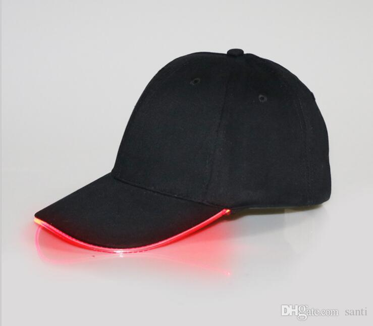 Fashion Hot LED Light Hat Glow Hat Black Fabric For Adult Baseball Caps Luminous 7 Colors For Selection Adjustment Size Xmas Party