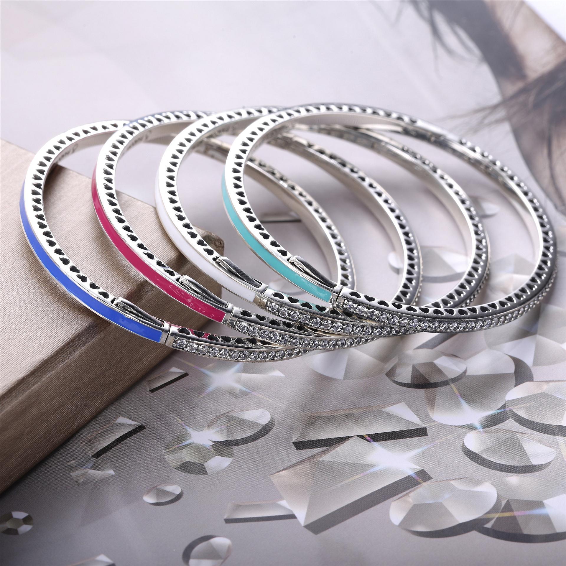 Venta al por mayor 100% de plata de ley 925 para las mujeres aman joyería de moda brazaletes pulsera de la joyería de la mujer