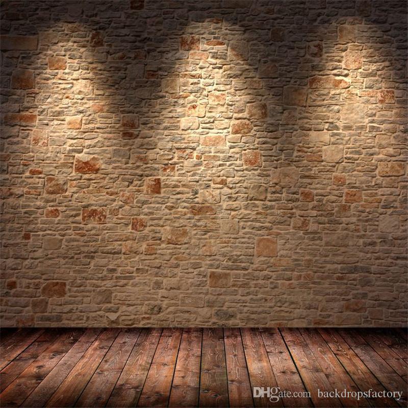 Fondo della fotografia del muro di mattoni da interno con il pavimento in legno marrone chiaro del pavimento dell'annata del fondo di nozze della foto dello studio della foto