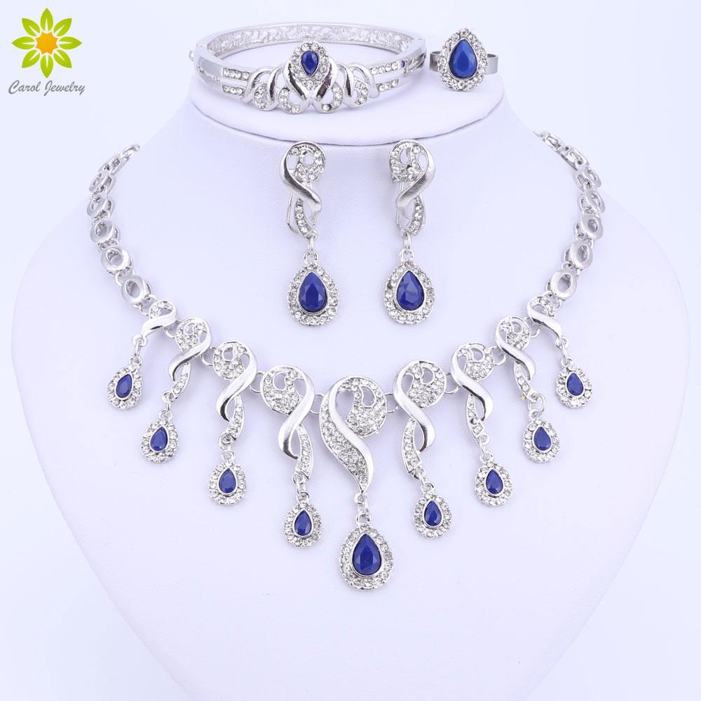 Cristal Beads Africanos Conjuntos de Jóias Para As Mulheres Se Vestem Acessórios de Casamento Nupcial de Prata Banhado A Colar Brincos Pulseira Anel Conjuntos