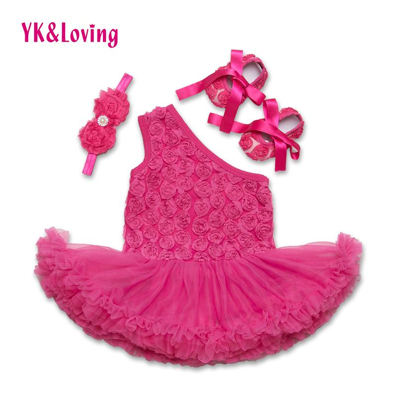 Fashion Baby Girl Pagliaccetti Dress Rose Flower Print Princess Abiti 3 pezzi Sets Neonato Neonati One spalla Z203