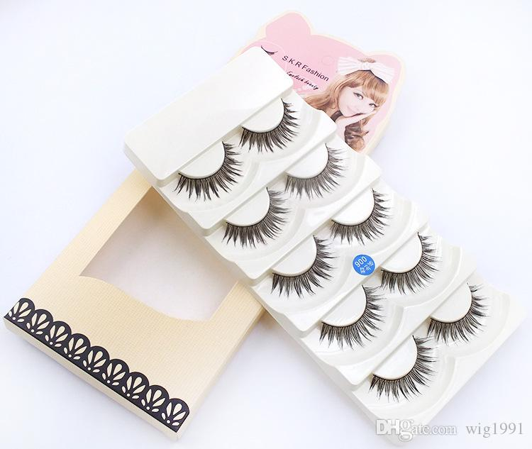 Soft Long Makeup Cross Thick 8 Styles False Eyelashes with Box Package 5 Pairs Nautral 3D Handmade Lashes with Retail Box