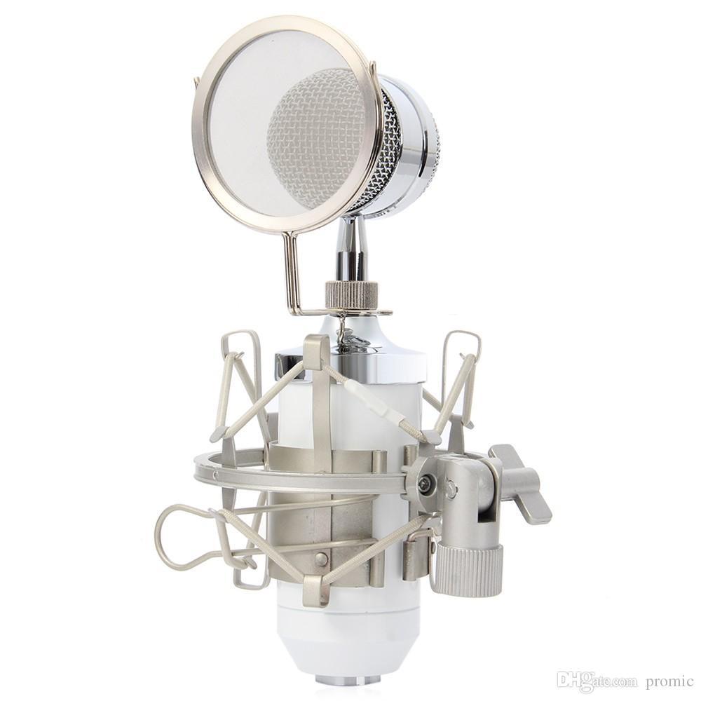 BM8000 Professional Sound Studio Gravação Condensador Microfone Com Fio de 3.5mm Plug Stand Titular Filtro Pop para KTV Karaoke