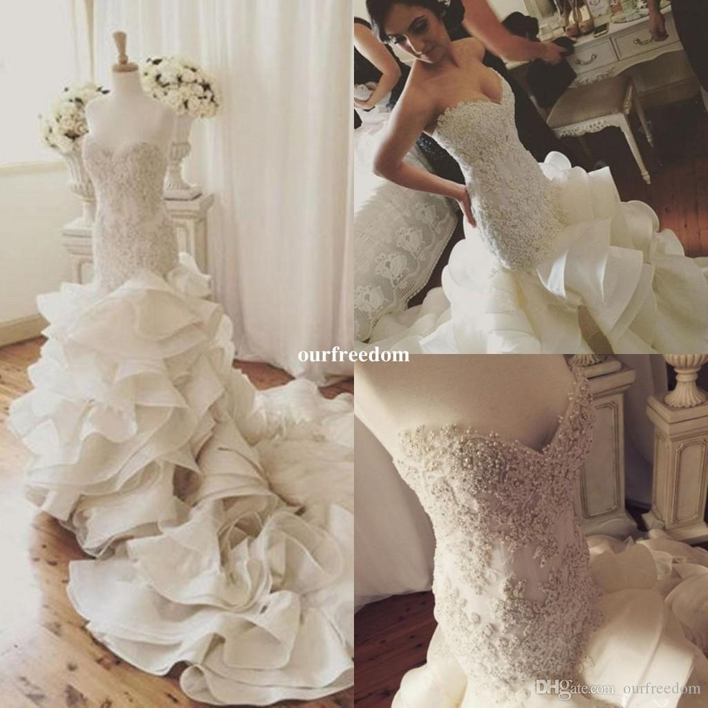 Real Image Hot Sale Pearls Sexy Mermaid Wedding Dresses Lace Up Organza Chapel Train Lace Applique Bridal Gowns Custom Made 2019 Plus Size