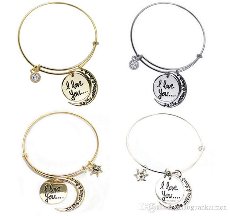 Hot I Love You To The Moon And Back Pendants Bracelets Bangles For Women Snap Button Bangle Ship Anchor Vintage Gold Bangle Bracelet