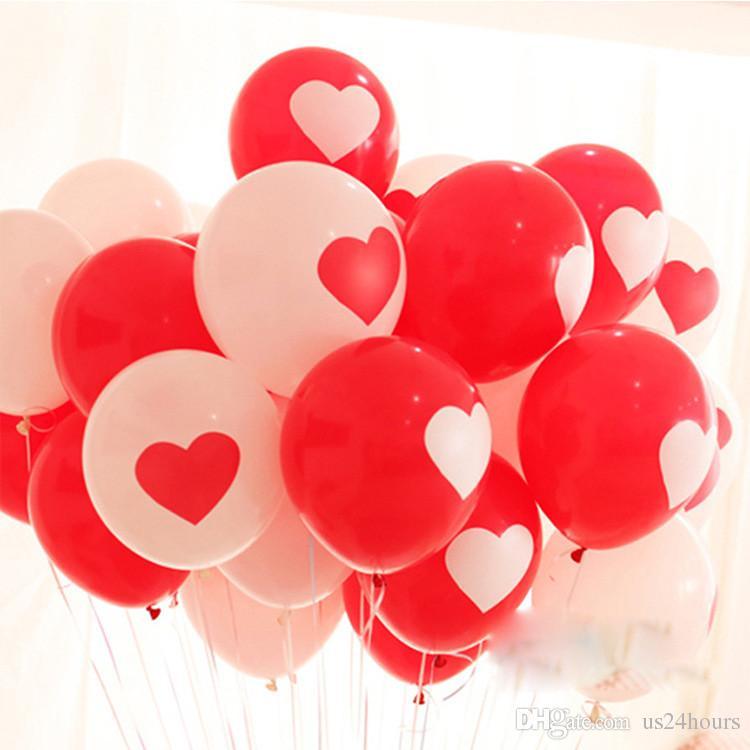 ¡Promoción de globos de 12 pulgadas! Blanco Rojo Encantador corazón redondo globos de boda Cumpleaños boda Decoración Matrimonio Globos látex ballute