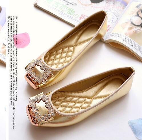 28f1603c3 Women Rhinestone Square Toes Single Shoes Girls Ballet Flat Loafers Shoes  Doug Shoes Womens Pumps Big