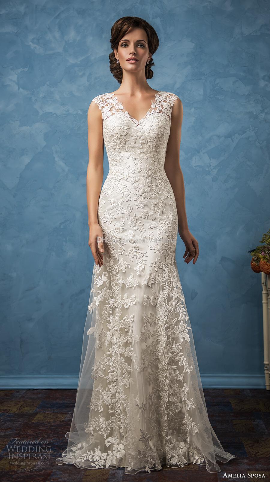 Full Embellishment Mermaid Lace Wedding Dresses 2017 Amelia Sposa ...