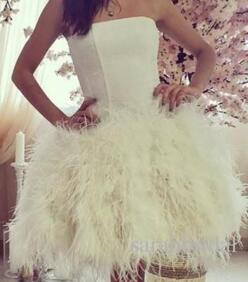 2017 Hot Cocktail Party Dresses Strapless Neck Sleeveless Feather Short Prom Wear Knee Length Spring Summer Mini Formal Party Gowns 2016