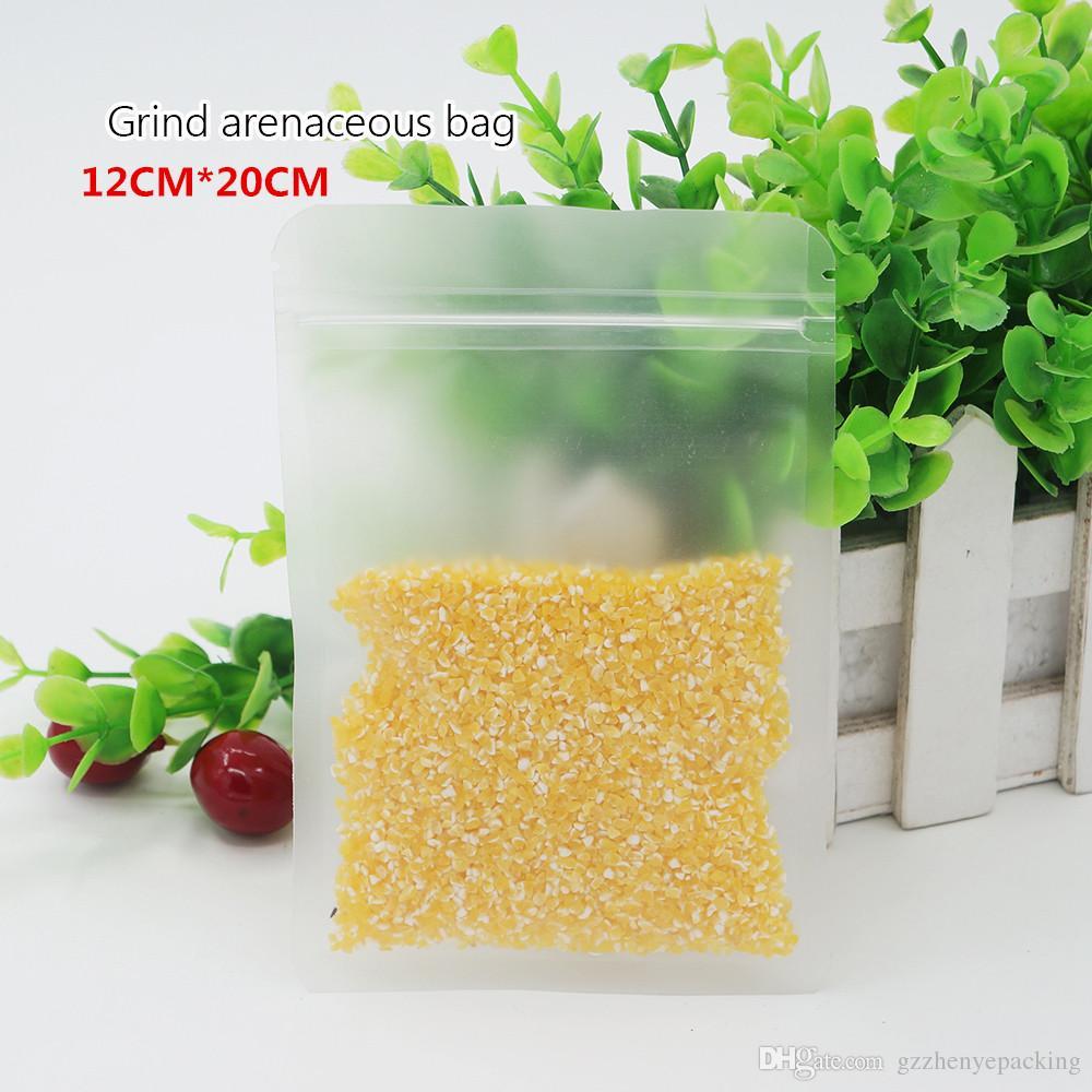 12 * 20cm 서리로 덥은 편평한 뼈 부대 식사 부대 자동 밀봉 비닐 부대 반점 도매 반점 100 / package