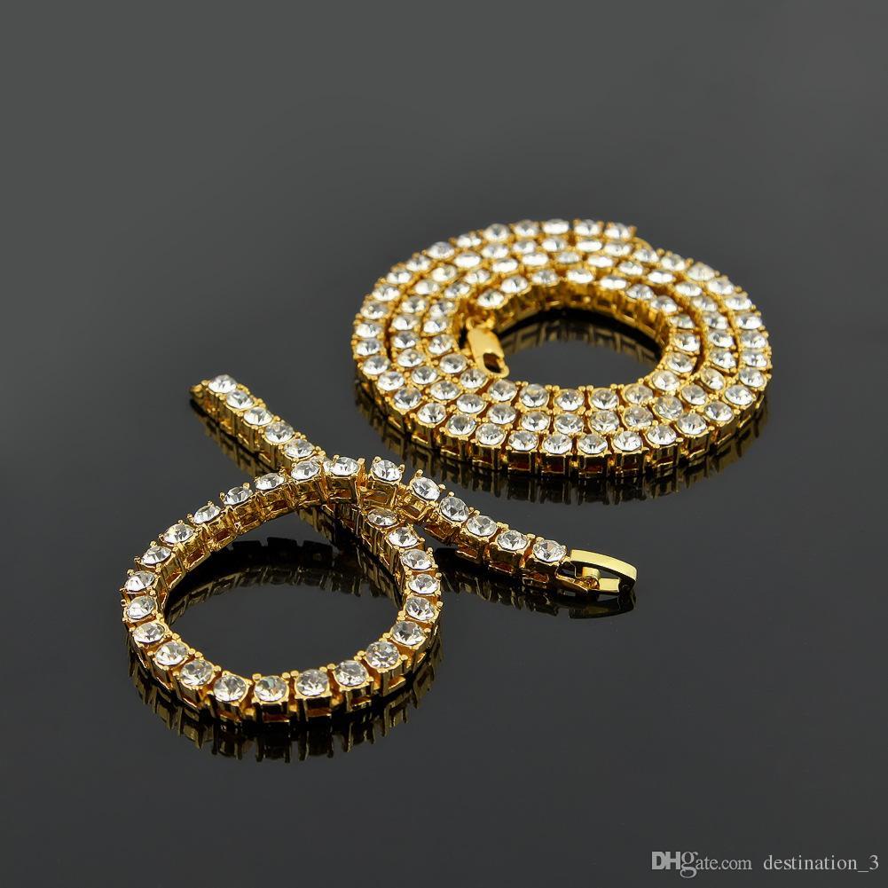 Хип-хоп золотая цепь 1 строка имитация алмазов хип-хоп ожерелье цепь 24 дюйма -- 36 дюймов мужские золотой тон оттаявший панк ожерелье