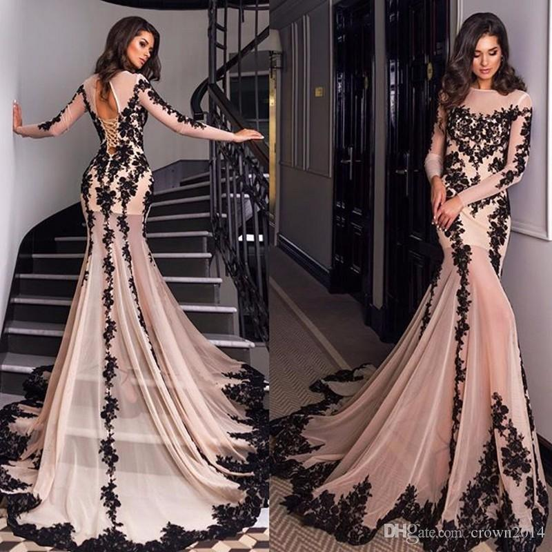 Pink And Black Mermaid Evening Dresses 2019 Long Sleeves Court Train Lace Appliques Sexy Sheer Neck Lace-up Back Formal Prom Evening Gowns