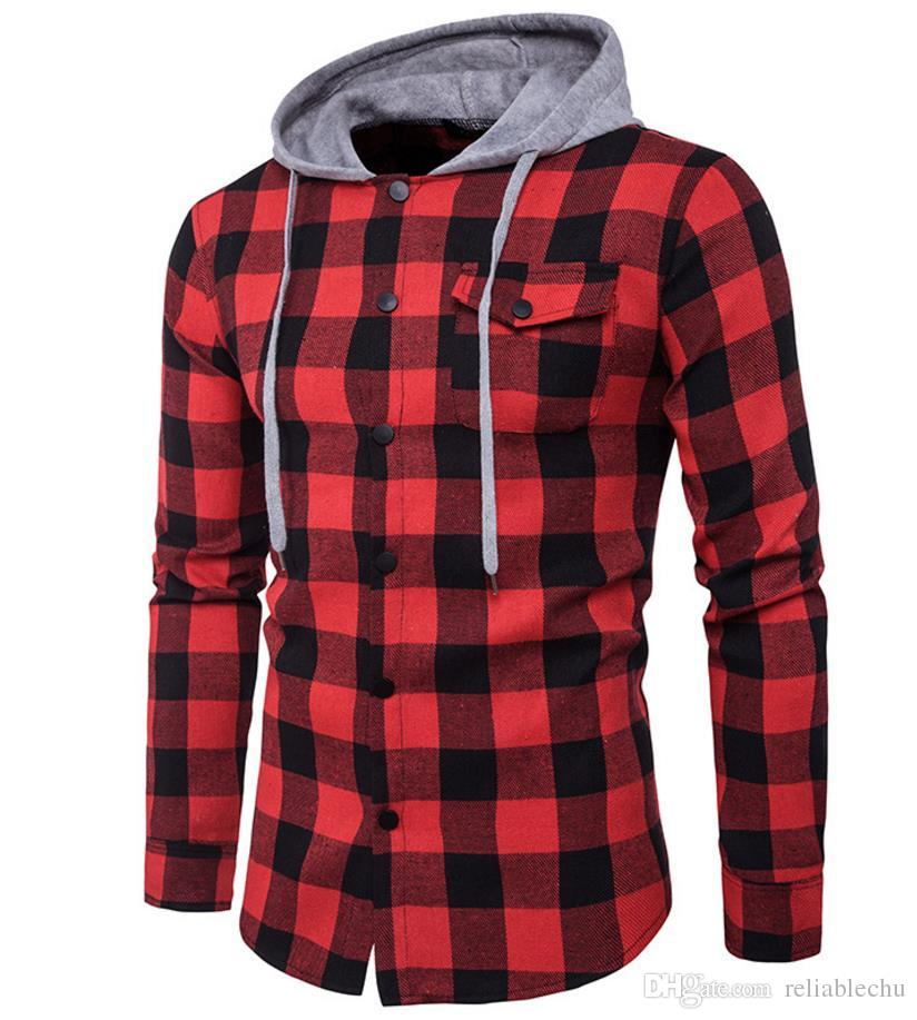 Sebaby Men Single Breasted Classic Plaid with Pockets Long-Sleeve Shirts