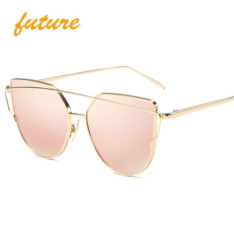 도매 - 미래의 고양이 눈 여성 선글라스 2017 새로운 디자인 거울 플랫 로즈 골드 빈티지 캣 아이 패션 태양 안경 여성 UV400 여성