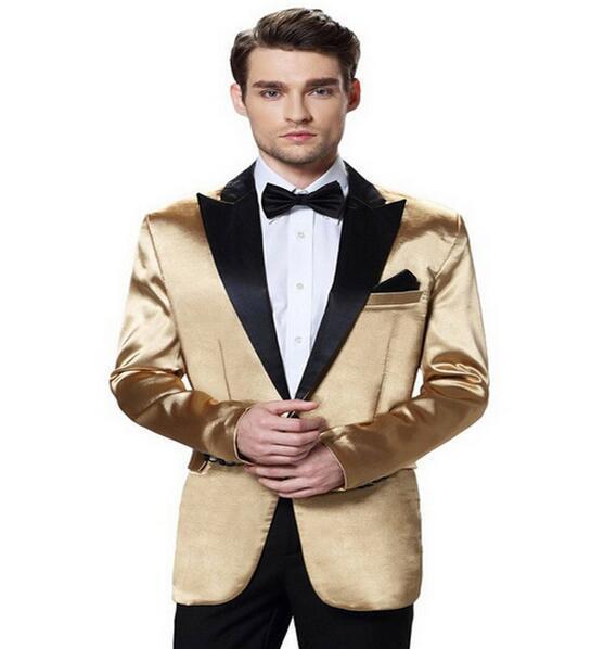 Wholesale- 2017 Custom Made Men's Gold Jacket Black Lapel Soft Party Wedding Suits For men Slim Fit Blazer Jacket+Pants+Bow New Design Dres