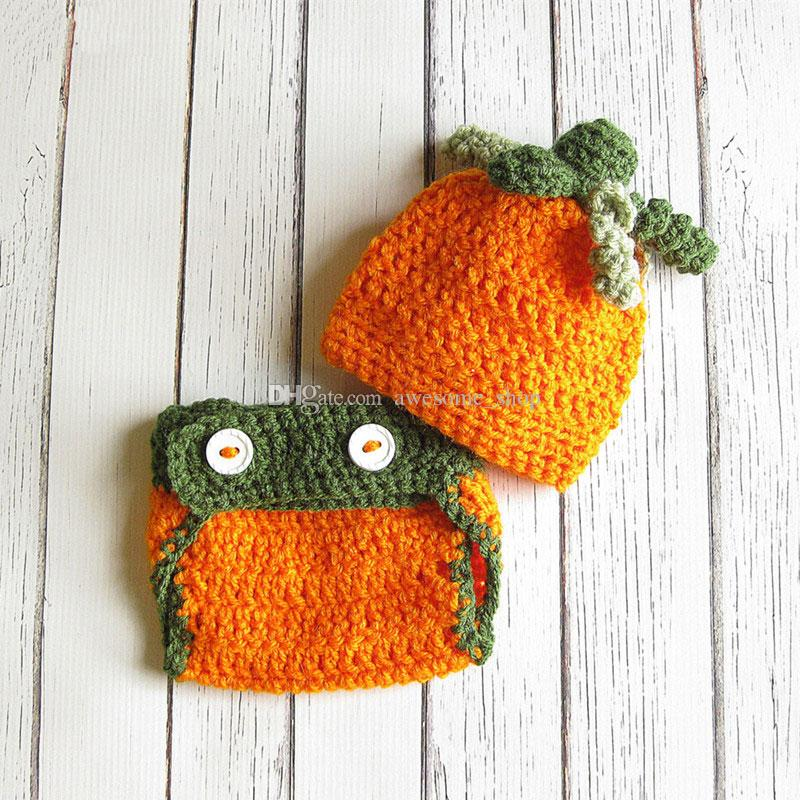 Baby Photo Prop UK New Crochet Halloween Pumpkin Hat /& Boots Set Gift