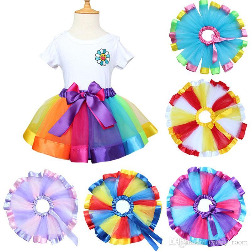 7colors 무지개 컬러 소녀 투투 스커트 새로운 리본 Bowknot 어린이 공주 댄스 스커트 공연 축제 파티 키즈 Pettiskirt C1573