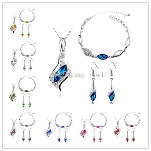 Sistemas de la joyería de lujo de La Venta Caliente Pendientes de Cristal Colgante Collares Pulseras Set Para Mujer Regalo de la Muchacha
