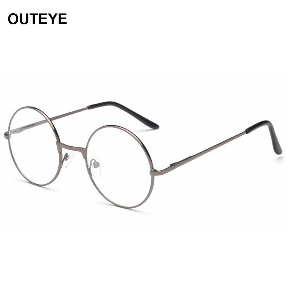Wholesale- OUTEYE Occhiali da lettura rotondi vintage montatura in metallo retro personalità occhiali da vista stile college occhiali da vista da uomo donna W2