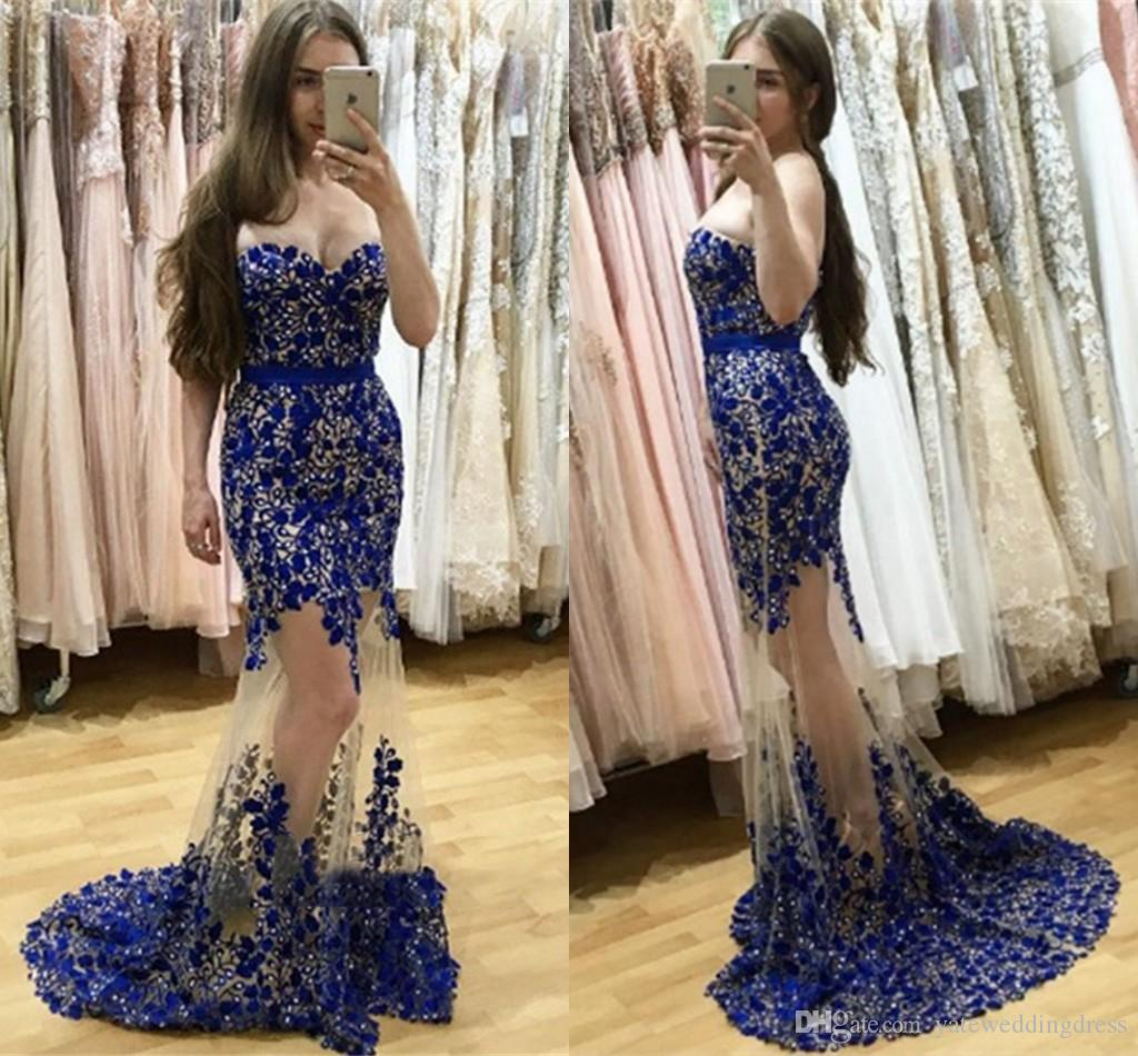 Sweetheart 2017 Sexy Evening Dresses With Royal Bule Applique Beaded Sequined Prom Gowns Back Zipper Custom Made Formal Party Gowns 2017