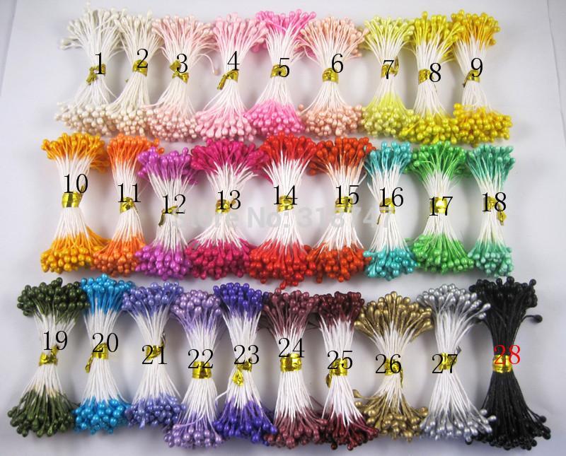 Оптовая продажа-3 мм случайное смешивание 20 цветов или смешивание 10 цветов украшение торта тычинки цветка перлы (1800pcs или 900pcs) 11030317