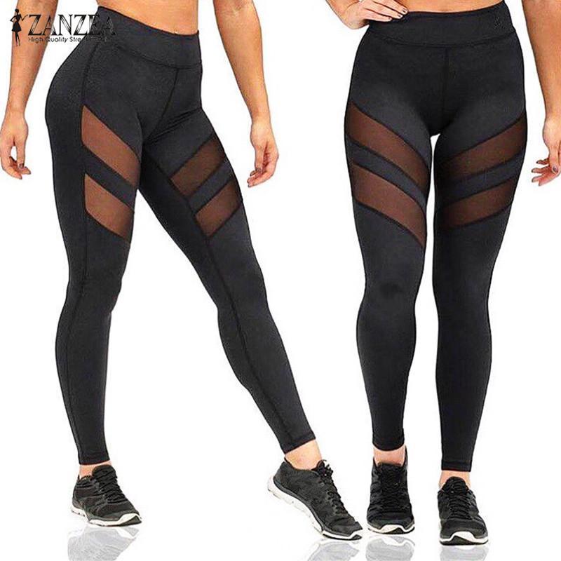 Gros-Sexy Mesh Patchwork Fitness Leggings ZANZEA Femmes Pantalons 2017 Dames Casual Élastique À Taille Haute Leggings Pantalon Vente Chaude