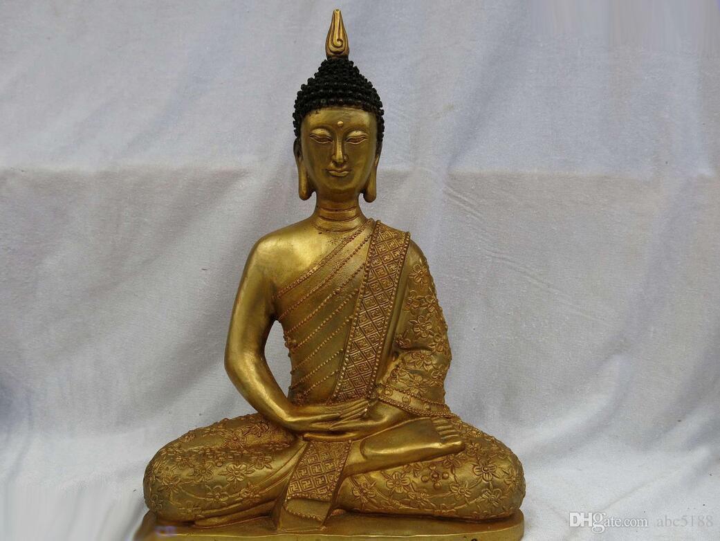 "11"" China bronze gild carved beautiful lucky buddhism buddhs sculpture Statue"