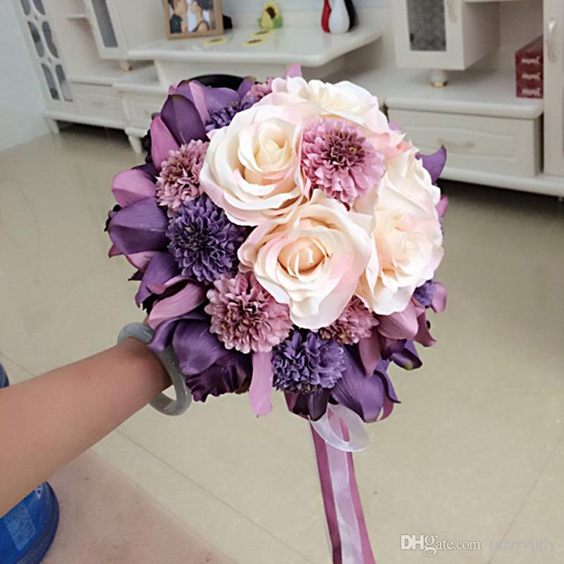 Blush Purple Peony Artificial Bridal Flower Wedding Bouquet Flowers ...