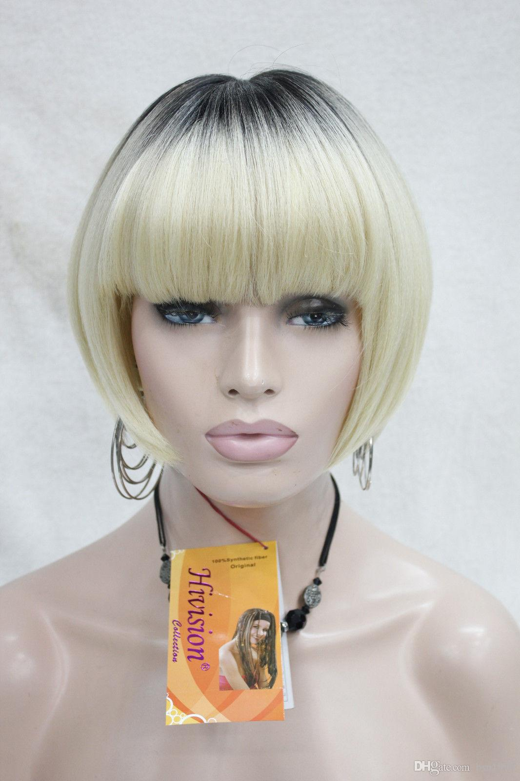 free shipping beautiful fashion Hivision High Quality Heat Ok Blonde with Dark Roots Bob Mushroom Style with Bangs Wig