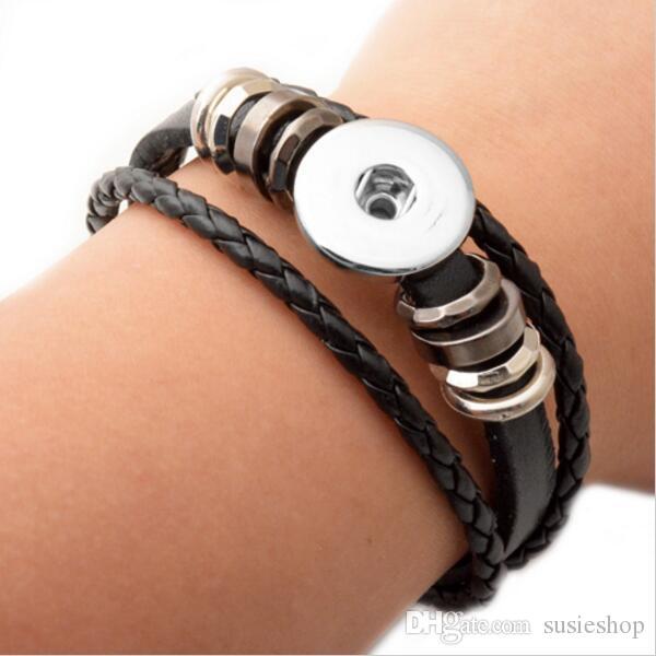 50 piezas botón de presión BraceletBangles 6 colores Pulseras de cuero de alta calidad para mujeres 18mm Rivca Snap Button Jewelry