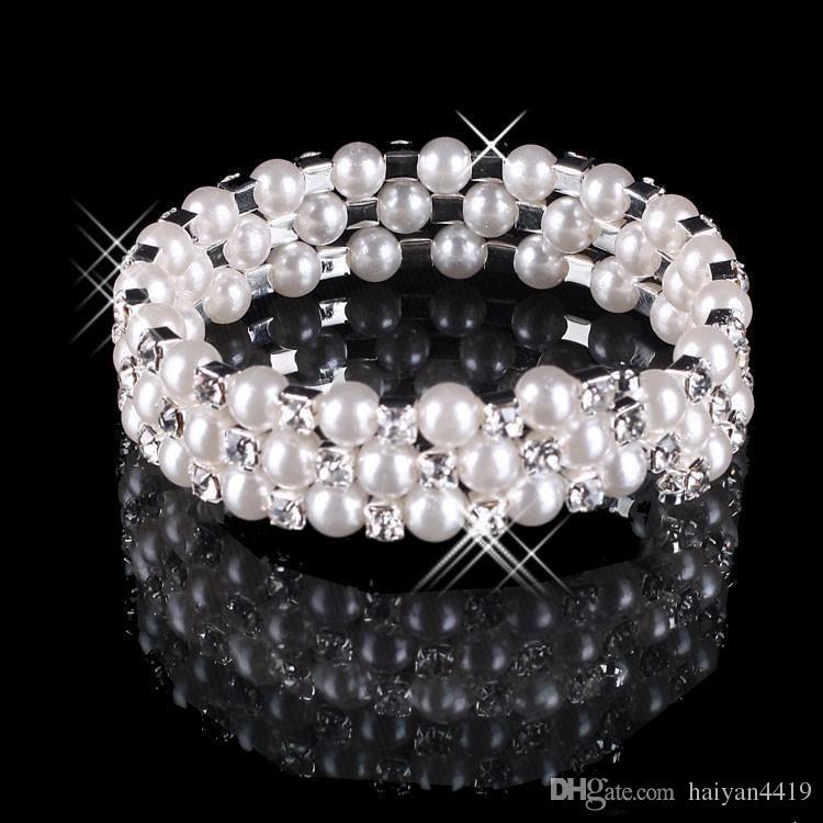 2020 Hot Faux Pearl Pulsera de cristal Joyería nupcial Accesorios de boda Señora Prom Party Party Jewery Bridal Bracelets Mujeres Envío gratis
